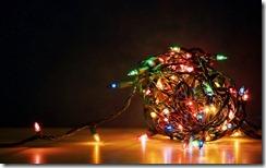 A tangled ball of Christmas lights